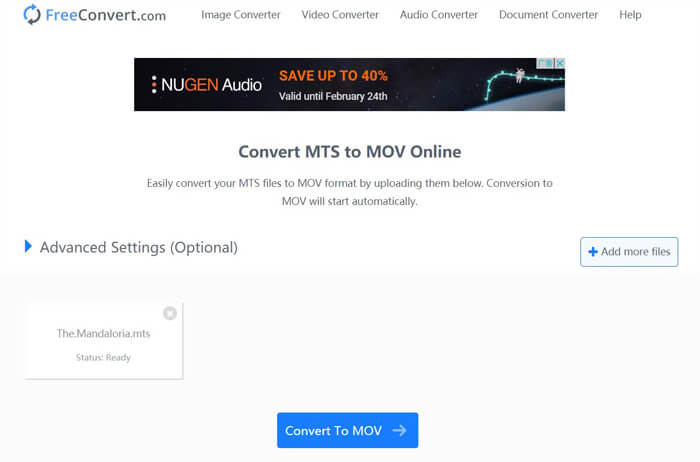 Freeconvert MTS To MOV