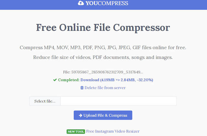 Compress video with youcompress